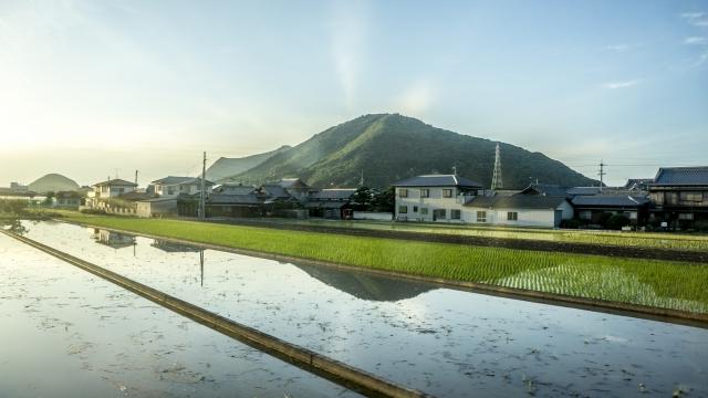 お中日の時期の田舎の風景