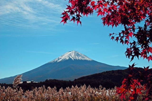 雪が積もったばかりの富士山