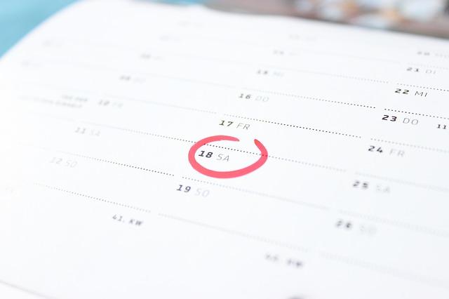 カレンダーの日付に印