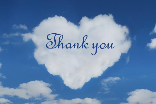 ハート型の雲と「Thank you」の文字