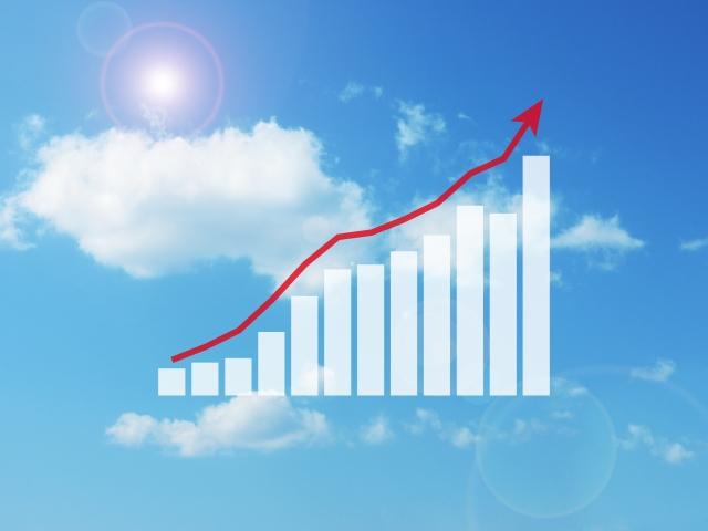青い空と右肩上がりの棒グラフ