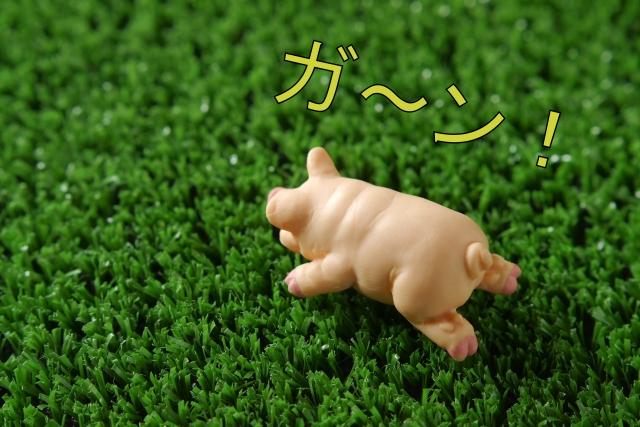 ショックを受ける豚の人形