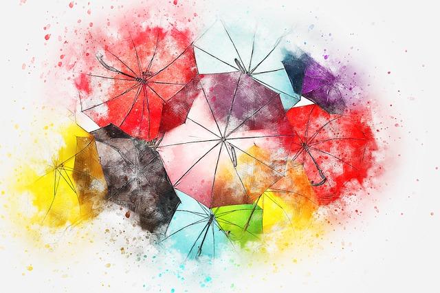 いろいろな色の傘のイラスト