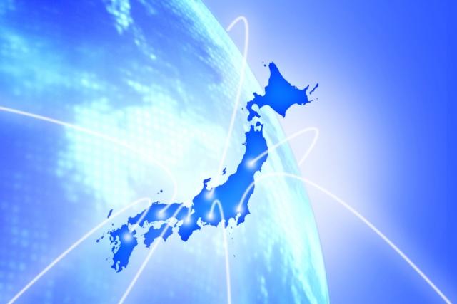 日本の地図と地球