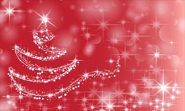 キラキラするクリスマスツリーのイラスト