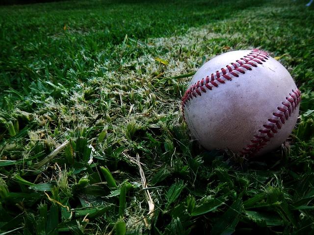 芝生の上の野球ボール
