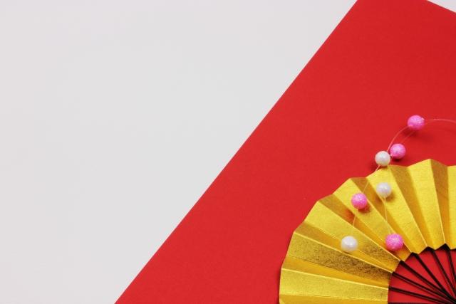 おめでたい金色の扇子