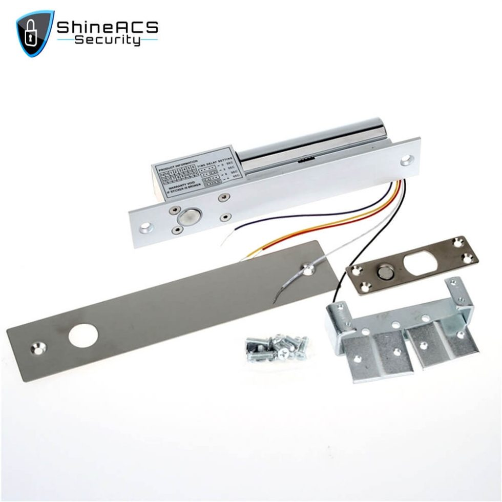 Electric Bolt lock With Door Detective Signal SL E200SL 1 980x980 - Electric drop bolt locks for glass doors SL-E200SL