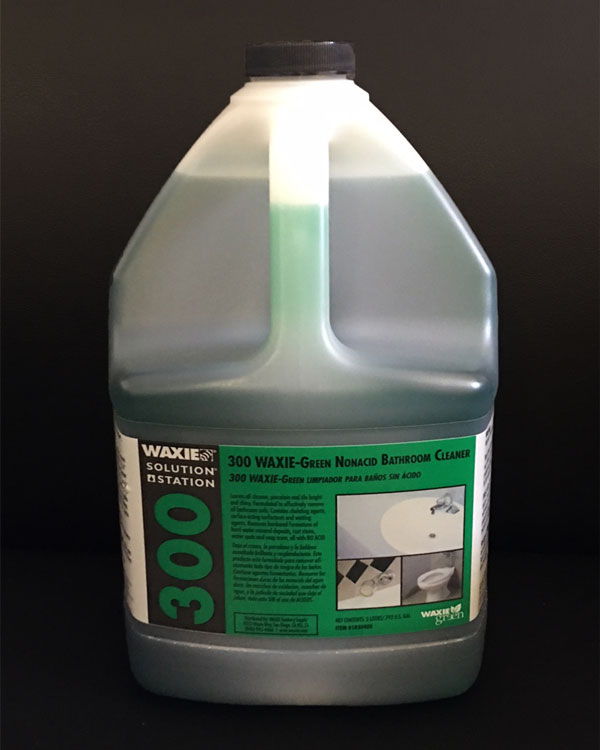 300 - Removes soap scum and mineral deposits. Safe on fiberglass. Leaves all chrome, porcelain and tile bright and shiny. Formulated to effectively remove all bathroom soils including hardened formations of hard-water mineral deposits, rust stains, water spots and soap scum, all with no acid. Appealing floral fragrance.