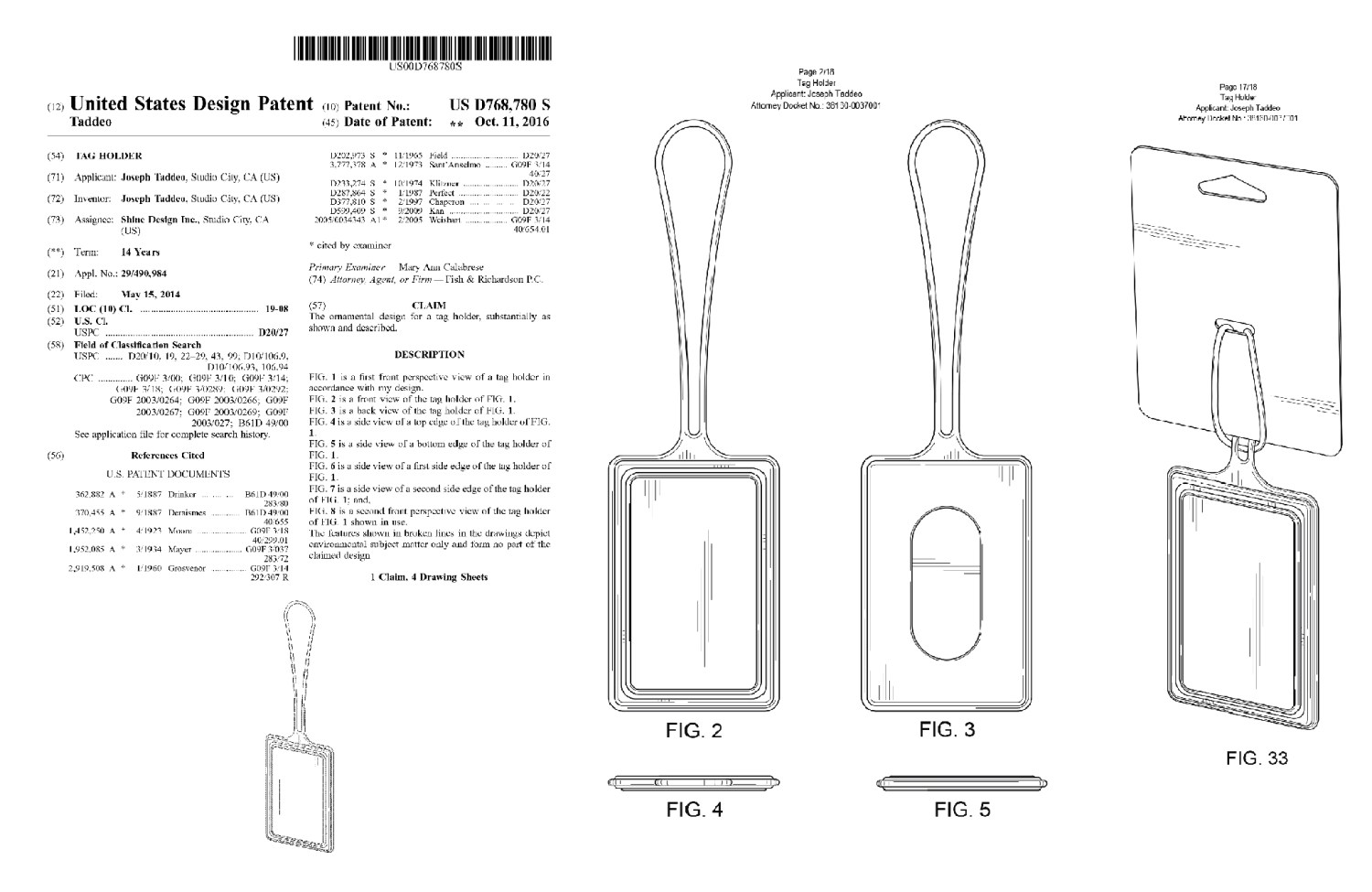 Bag Tag ID Packaging Patent