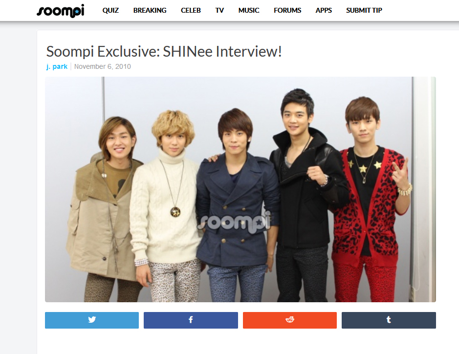 Interview] Soompi – 2010 Interview – SHINee USA
