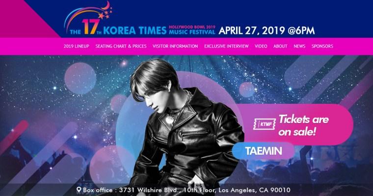 Taemin: KOREA TIMES MUSIC FESTIVAL, Los Angeles, April 27th!!
