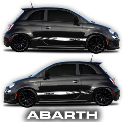 Fiat Abarth 500 rocker panel graphic decal white