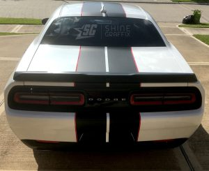 Dodge Challenger Race Stripes Rear
