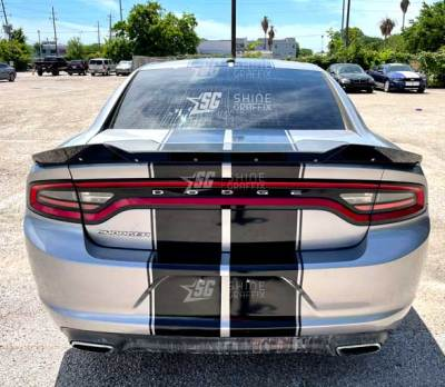 dodge charger rally racing stripes 10 in rear gloss black