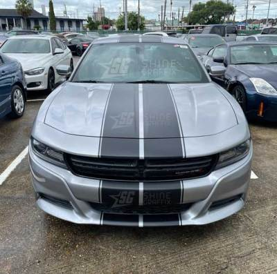 dodge charger rally racing stripes 10 in front Matte black