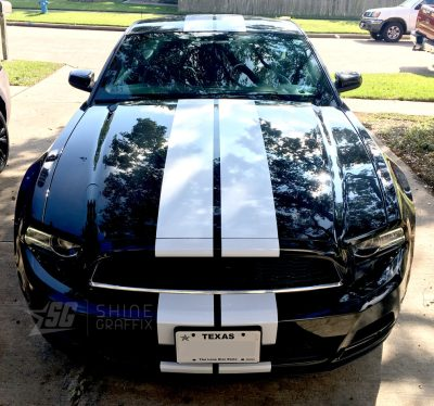 Mustang 8in wide racing stripes front