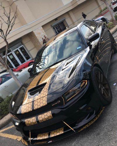 Gold SRT dodge charger honeycomb racing stripes scat pack