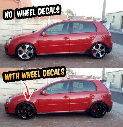 "VW Golf GTI mk5 mk6 wheel decals 18"" Detroit wheels black"