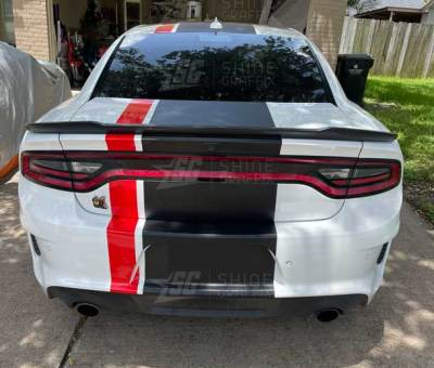 Dodge charge viper stripes Black and red rear view