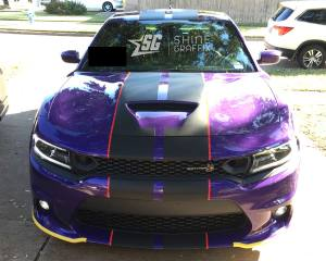 Dodge Charger Scat pack Hellcat stripes-hood scoop with pinstripes Front