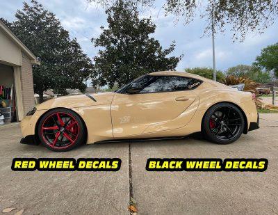 Mk5 Supra a90 red vs black wheel decals mods