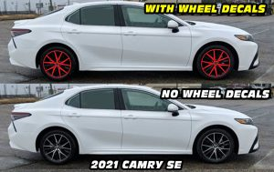 2021 Camry SE with Red wheel decals