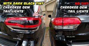 JEEP Grand Cherokee Rear Bumper Taillights NO Tint vs Dark Black out tint inserts