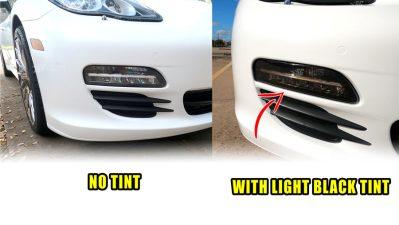 Porsche Panamera Mods tint 970 G1 Turn Signals Tint Passenger Side BEFORE & AFTER