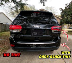 JEEP Grand Cherokee Rear Bumper Taillights NO Tint vs Dark Black out tint inserts rear view