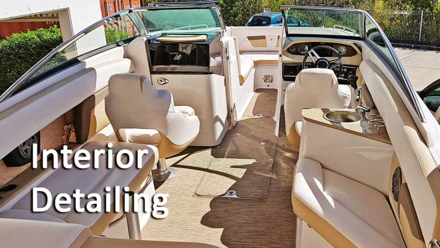 Leather seat inside a boat getting detail