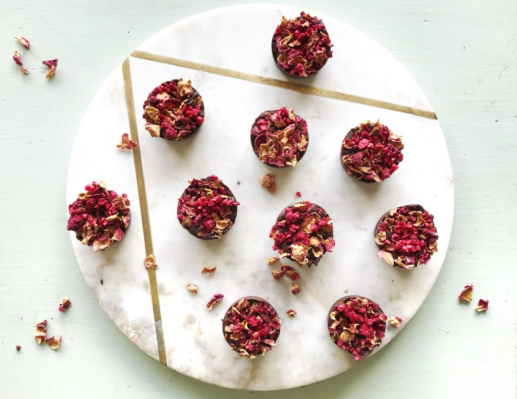 Raspberry and rose raw chocolate with dried rose petals.