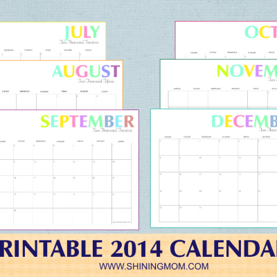 Free Printable: Colorful 2014 Calendars by Shining Mom