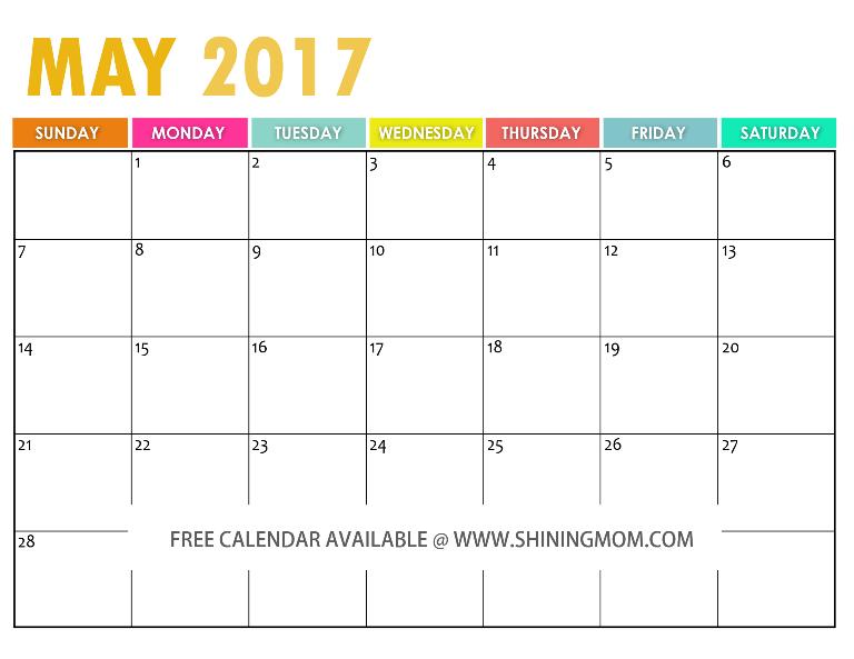 free printable May 2017 calendar