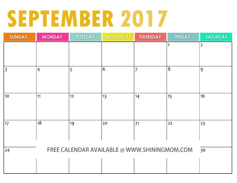 free printable September 2017 calendar