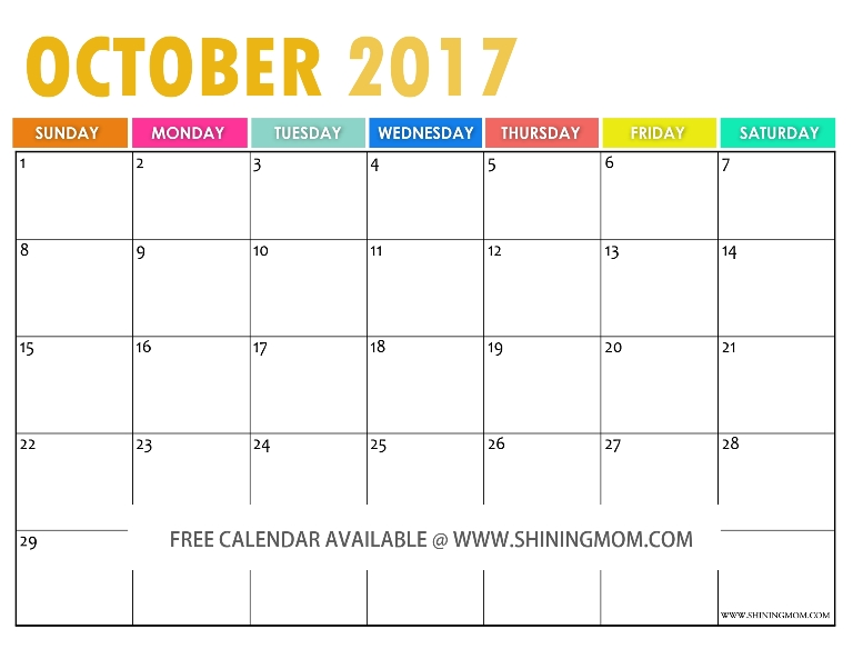 The Free Printable  Calendar By Shining Mom