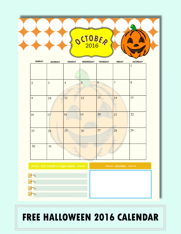 Do It Yourself Home Design: Free Calendars For October 2016 {Halloween Designs!}