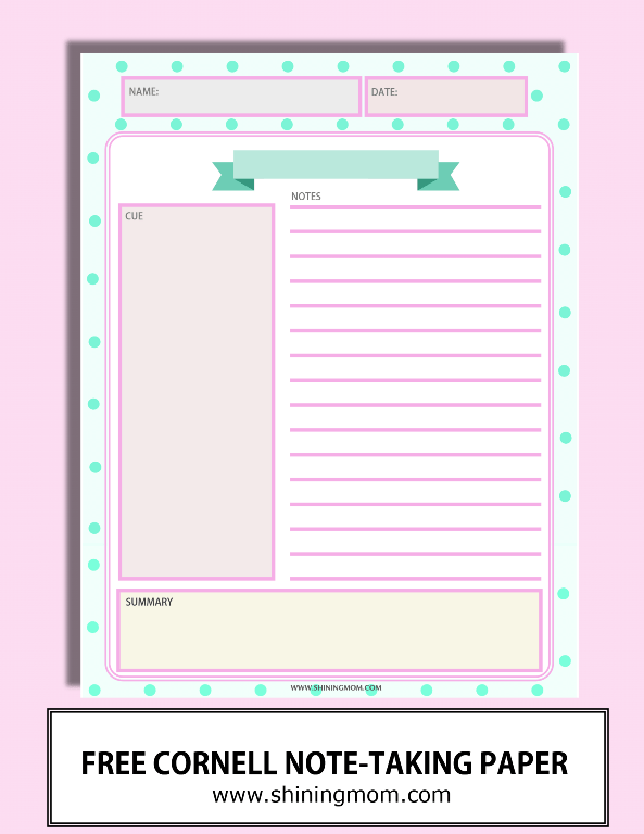 Happy Freebie Monday Note Taking Sheets – Cornell Notes Paper