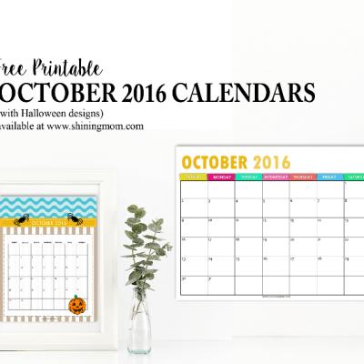 Free Calendars for October 2016 {Halloween Designs!}