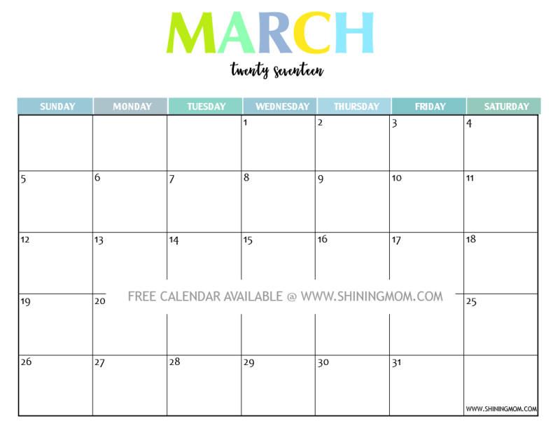 Calendar 2017 March : Your free printable calendar fun and colorful