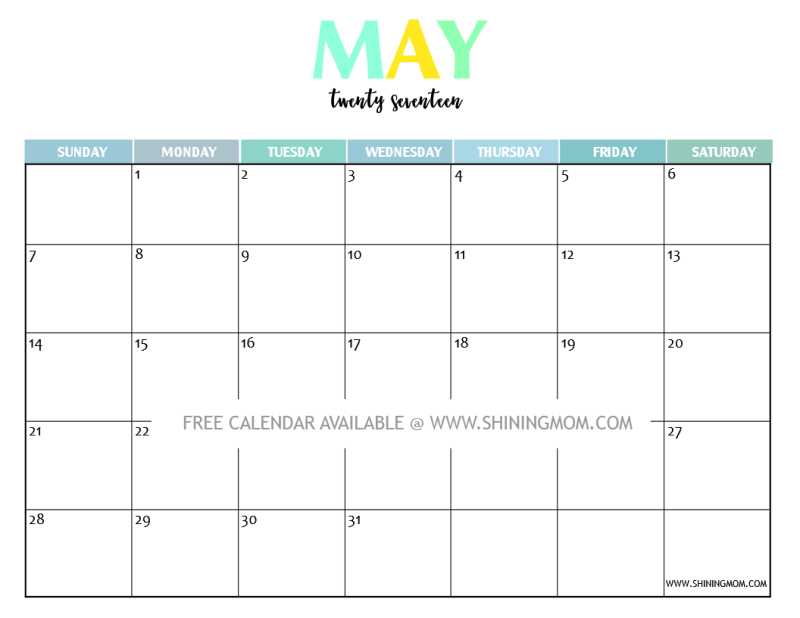 Printable Calendar May 2017 your free 2017 printable calendar: fun and colorful!