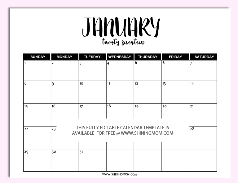 Free printable fully editable 2017 calendar templates in for Does word have a calendar template