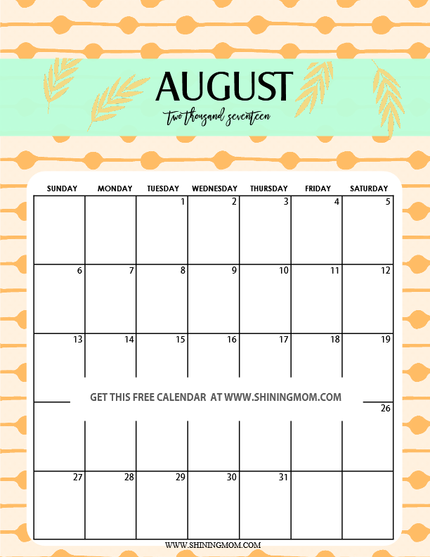Delightful Fun And Cute 2017 Calendar Printable!