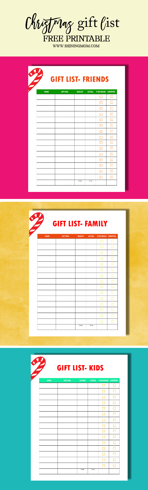 Use this FREE Printable Christmas Gift List