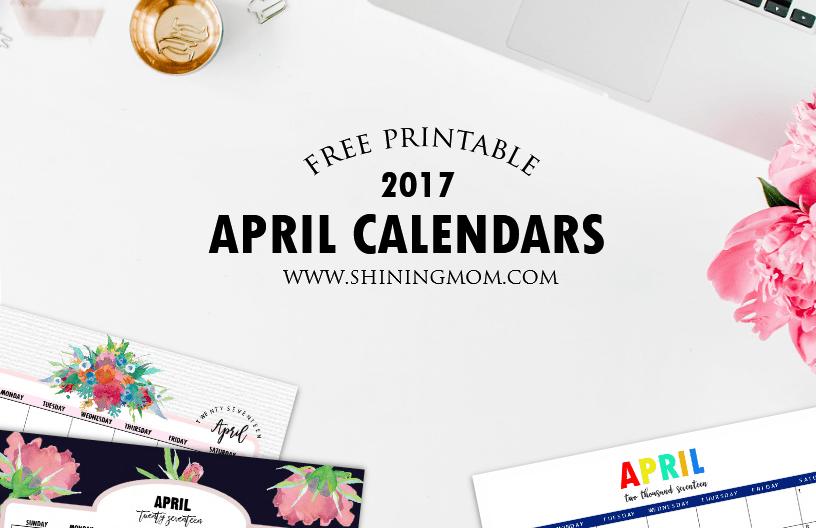 free printable April 2017 calendars