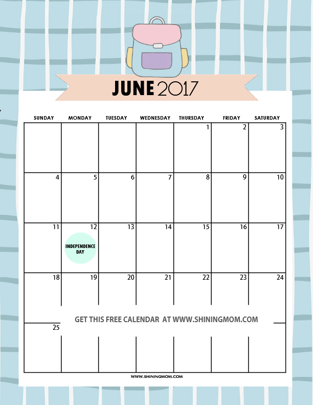 Calendar June Cute : Free printable june calendar awesome designs