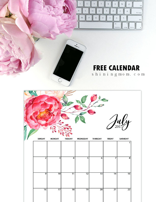 Calendar Design July : Free printable july calendar pretty designs