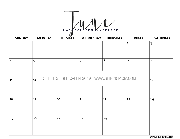 2017 Calendar Minimalist : Free printable june calendar awesome designs
