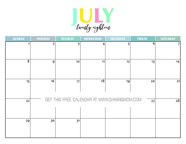 july 2018 calendar month