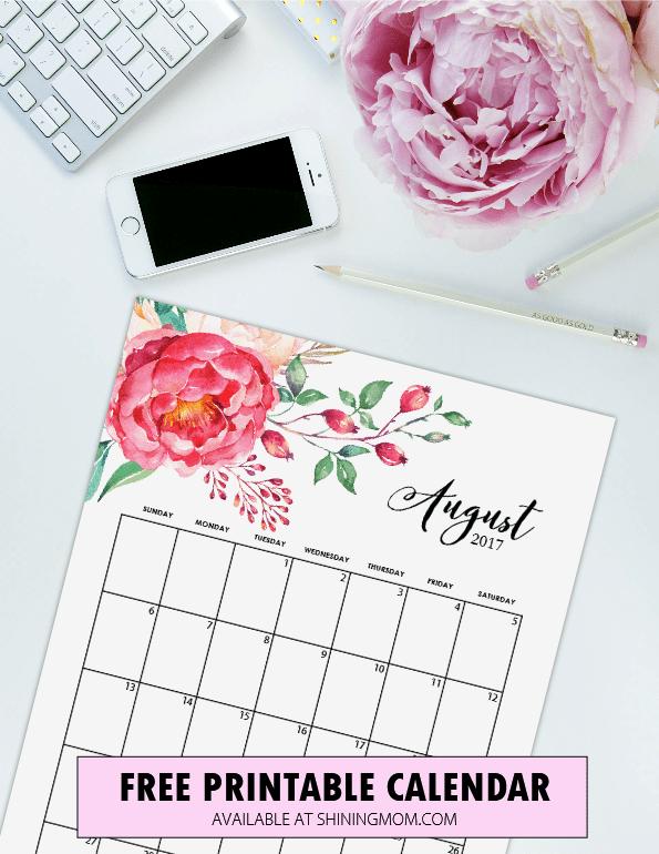 October 2017 Calendar Floral – September printable …